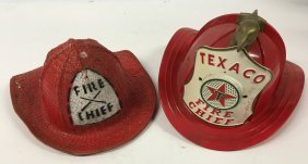 Two Toy Fire Helmets, Texaco Fire Chief