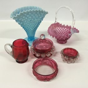 Hobnail Opalescent Glass, Blue And Cranberry