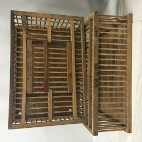 Two (2) Rustic Wooden Chicken Carrier Cages