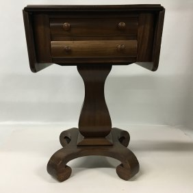 Mahogany Empire Double Drawer Drop Leaf Table