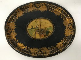 Nautical Themed Gilt Decorated Oval Tin Tray