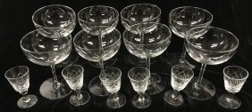 Crystal Stemware, Champagne And Liqueur Glasses