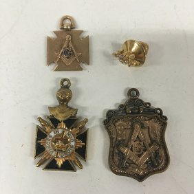 Gold And Gold Filled Masonic Pin And Pendents