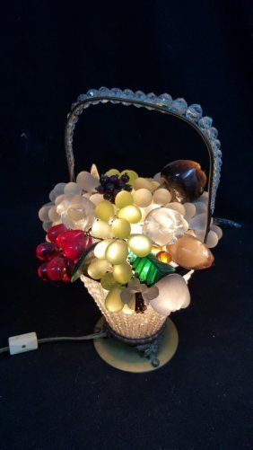 Czech Art Glass Fruit Basket Lamp