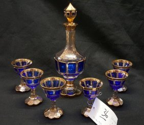 Bohemian Glass Moser Style Decanter Set
