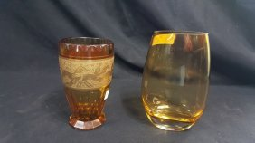 Bohemian Amber Gilt Glass Vase, With