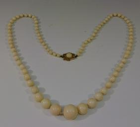 14K GOLD & ANGEL SKIN CORAL BEADS NECKLACE