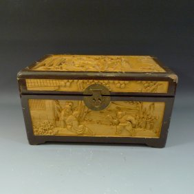 Antique Chinese Carved Boxwood Box. Republic Period