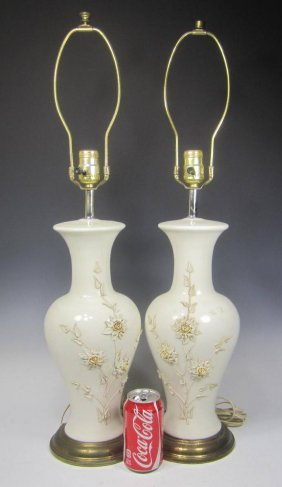 Pair Of Chinese White Porcelain Table Lamps.