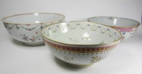 Three Chinese Export Porcelain Punch Bowl, 18th
