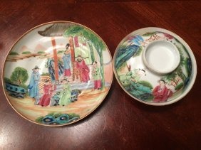 Antique Chinese Famille Rose Covered Bowl And Plate,