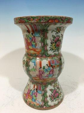 """Antique Chinese Rose Medallion Gu Vase, 19th C. 12 1/2"""""""