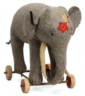 Steiff Elephant, '20s, Felt, Button Eyes, 32 Cm, Worn,