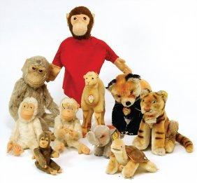 Steiff Mixed Lot, Elephant, 4x Monkey, Dromedary,