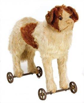 Steiff St. Bernard Dog On Cast Spoke Wheels, C. 1920,