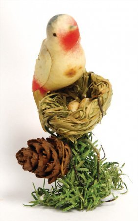 Christmas Tree Decoration, Bird's Nest With Bird, 7 Cm
