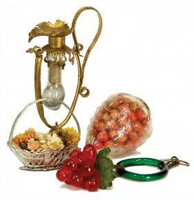 Christmas Tree Decoration, Miniatures, Tin, Glass,