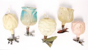 Christmas Tree Decoration, 5 Pieces, Glass, Fruits With