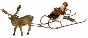 Santa Claus On A Tin Sledge, With Reindeer, 34 Cm