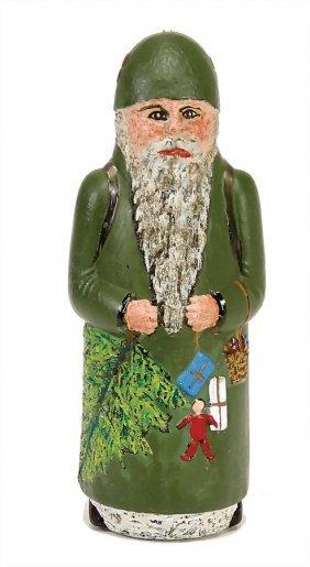 Santa Claus, Bottle, Glass, Painted, 20 Cm German