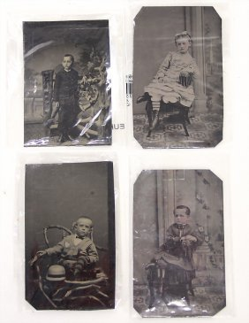4 Versch. Ferrotypie-aufnahmen, Um 1905, Kindermotive,