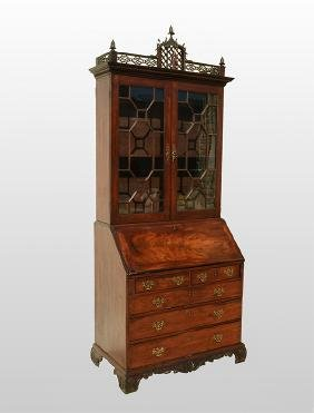 18th C. Chinese Chippendale Secretary Bookcase