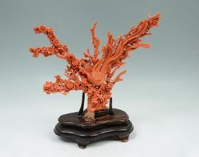 Chinese Carved Coral Phoenix In Branches Group