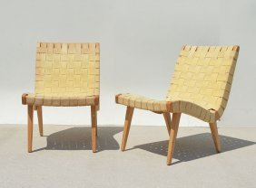 Pair Jens Risom For Knoll Strap Lounge Chairs