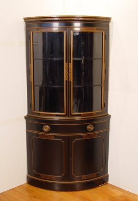 243 drexel travis court black corner china cabinet lot 243. Black Bedroom Furniture Sets. Home Design Ideas