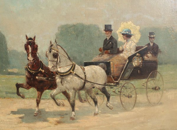 47: L LASKY HORSE CARRIAGE PAINTING : Lot 47