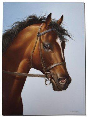MARIA SALDARRIAGA PAINTING ON PORCELAIN HORSE