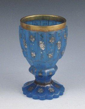 EARLY BOHEMIAN BLUE OPALINE SILVER OVERLAY BEAKER