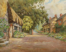 HILDA SIDES ENGLISH STREET WATERCOLOR PAINTING