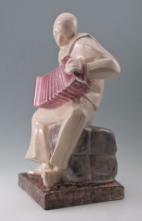MARCEL BOURAINE DECO STYLE PORCELAIN SCULPTURE
