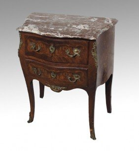 FRENCH MARBLE INLAID TOP TWO DRAWER STAND