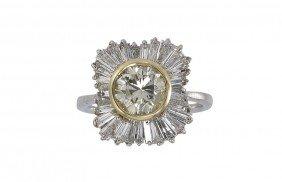 1.38 CT YELLOW DIAMOND &1.25 CTW RING SZ 6.5  14k