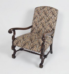LOUIS XVI STYLE WALNUT ARM CHAIR