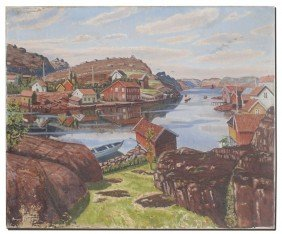 ILLEGIBLY SIGNED DANISH HARBOR SCENE PAINTING