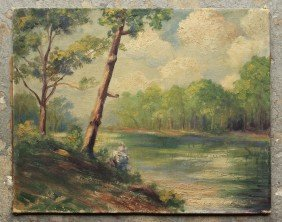 RIVER LANDSCAPE PAINTING SIGNED 'A. R. SQUIRES'