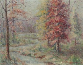 HELEN MARR ZIMMERMAN AUTUMN FOREST STREAM PAINTING