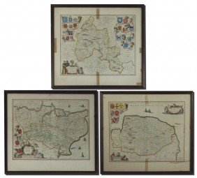 COLLECTION OF 3 17TH CENTURY JAN JANSSON MAPS