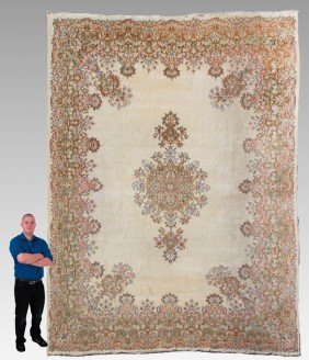 SEMI ANTIQUE PERSIAN KERMAN HAND KNOTTED WOOL RUG,
