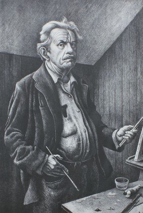 THOMAS HART BENTON SELF PORTRAIT LITHOGRAPH
