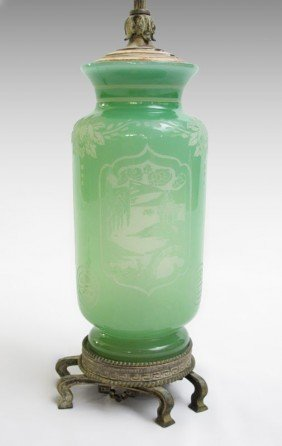 STEUBEN JADE OVER ALABASTER GLASS LAMP