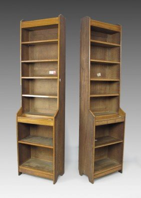 PAIR  OAK BOOKCASES FROM THE CHRIST CHURCH LIBRARY