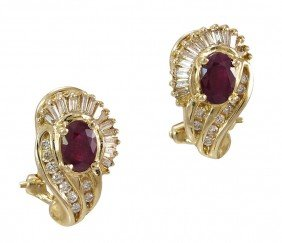 14K GOLD RUBY & DIAMOND EARRINGS