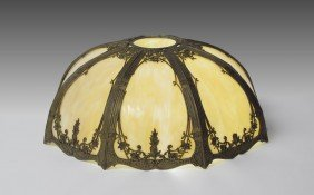 8 PANEL SLAG GLASS LAMP SHADE
