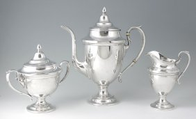 HUNT SILVER CO. 3 PIECE STERLING COFFEE SERVICE