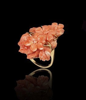 HAND CARVED NATURAL CORAL RING