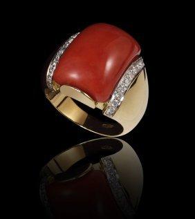 18k GOLD RED CORA & DIAMOND RING 11 GRAMS SZ 7